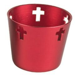 10 Hr Anodized Aluminum Votive Holders - Red 12/cs