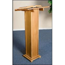 Square Base Lectern - Pecan Stain