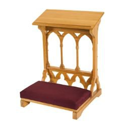 Gothic Collection Padded Kneeler - Medium Oak Stain