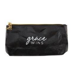 Grace Wins Metallic Black Zippered Pouch