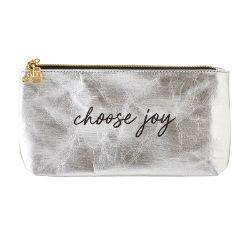 Choose Joy Metallic Silver Zippered Pouch