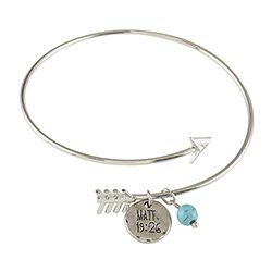 With God All Things are Possible Arrow Bangle Bracelet - 6/pk