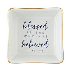 Blessed is She Who Has Believed Jewelry Tray - 6/pk