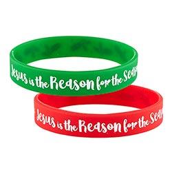 Jesus is the Reason Silicone Bracelet Assortment (2 Asst) - 24/pk