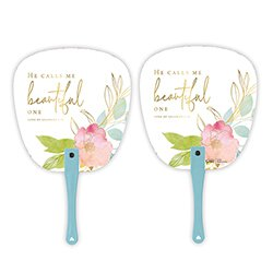 He Calls Me Beautiful One Hand Fan - 24/pk