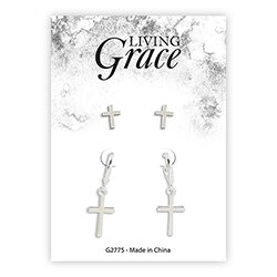 Silver Cross Earrings Set - 8/pk