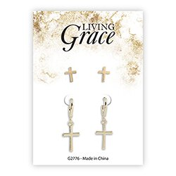 Gold Cross Earrings Set - 8/pk
