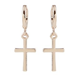 Rose Gold Cross Earrrings Set - 8/pk
