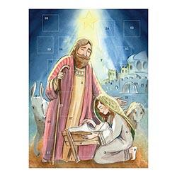 Watercolor Nativity Advent Calendar - 12/pk
