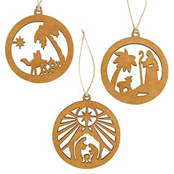 Nativity Scene Laser-Cut Wood Ornament Set - 12/pk