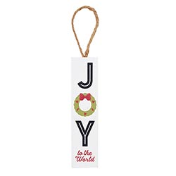 Joy to the World Plank Ornament - 12/pk