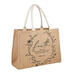 Faith Jute Tote Bag - 2/pk