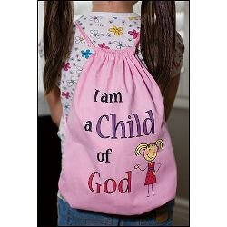 I am a Child of God Drawstring Backpack Pink - 12/pk