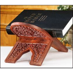 Carved Rosewood Bible Stand - 3/pk