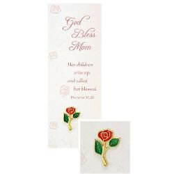 Mother's Rose Dove Lapel Pin with Bookmark - 12/pk