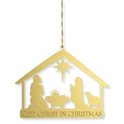 Keep Christ in Christmas Nativity Brass Ornament