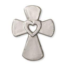 Cross with Heart Lapel Pin - 50/pk