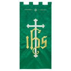 Maltese Jacquard Banner - Green IHS Cross
