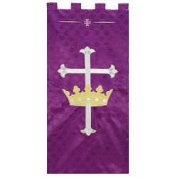 Maltese Jacquard Banner - Purple Cross with Crown