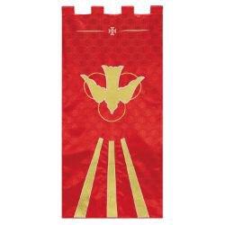 Maltese Jacquard Banner - Red Descending Dove