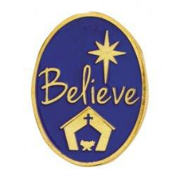 Believe Christmas Lapel Pin - 25/pk