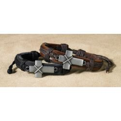 Bold Cross Leather Bracelet Assortment - 12/pk