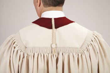 Ivory / Burgundy Pulpit Robe with Embroidered Ivory Crosses