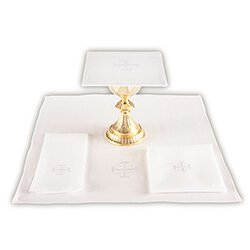 100 percent Linen Lavabo Towel with Jerusalem Cross - 4/pk