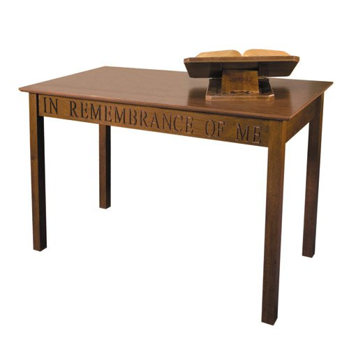 In Remembrance of Me Communion Table - Walnut Stain