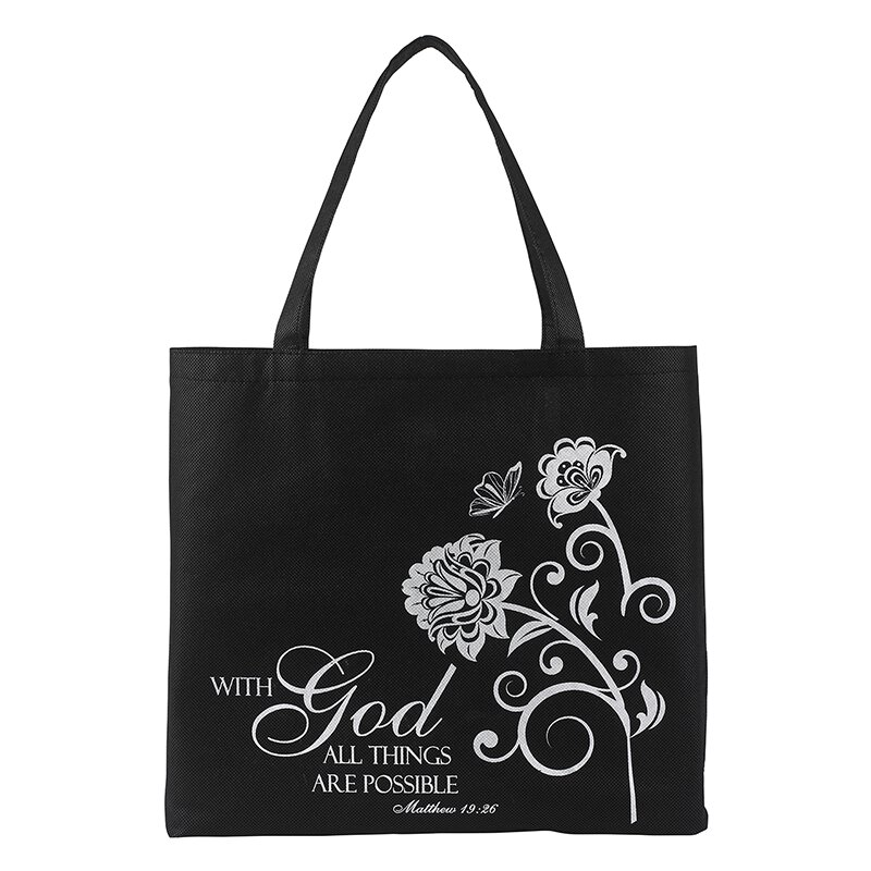 Pocket Tote Bag : With God All Things are Possible - 12/pk