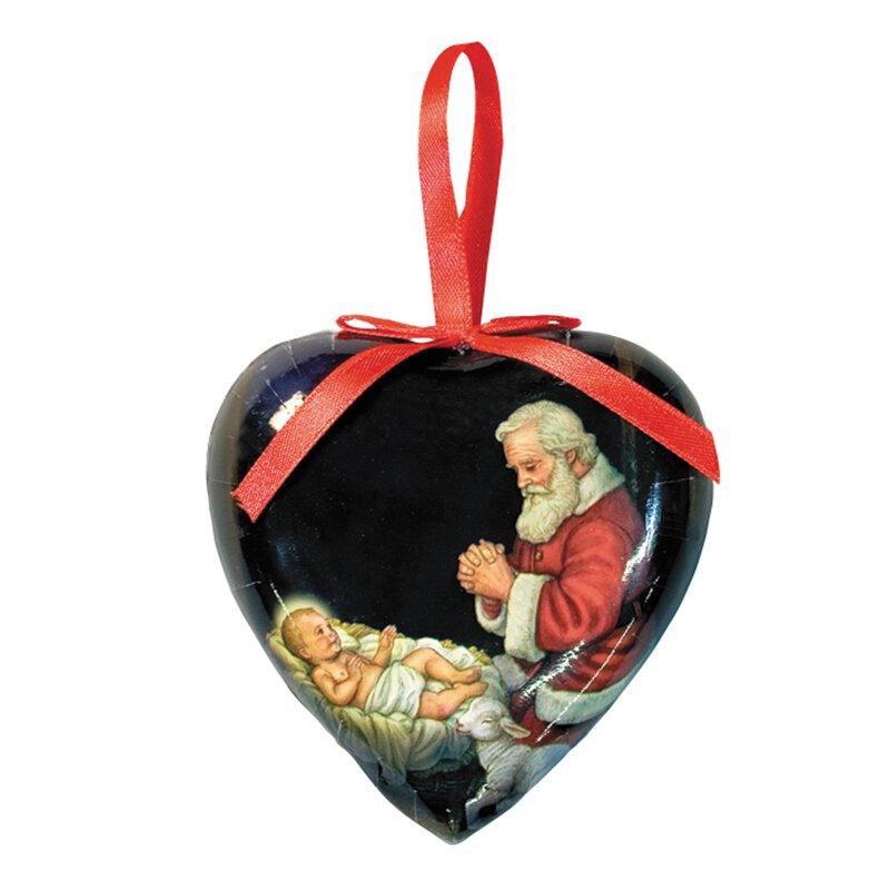 Baptism Heart Ornament: Adoring Santa Heart Shaped Ornament