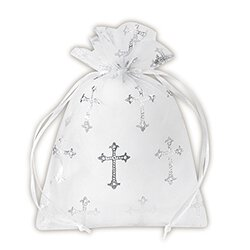 Medium Cross Organza Gift Bag - 36/pk