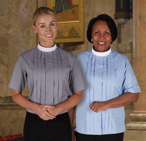 Women's Neckband Collar Short Sleeve Clergy Shirt