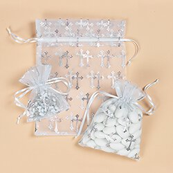 Large Cross Organza Gift Bag - 24/pk