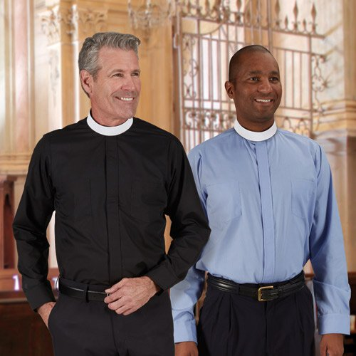 Neckband Long Sleeve Clergy Shirt - French Cuffs