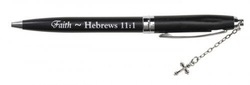Faith Black Pen with Cross Dangle - 12/pk