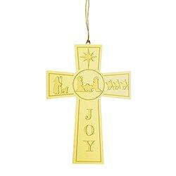 Nativity Cross Brass Ornament