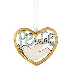 Peace Heart Ornament - 6/pk