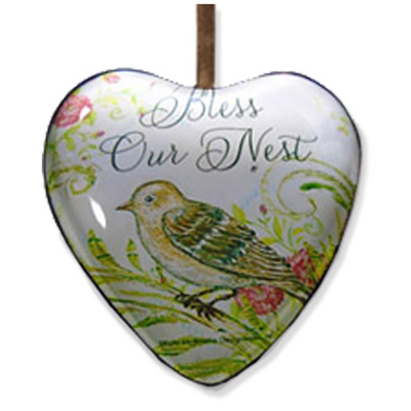 Bless Our Nest Hanging Glass Heart