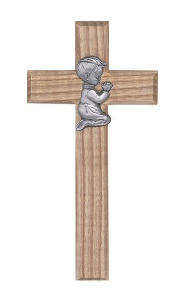 """Wood Cross 8"""" Praying Boy"""