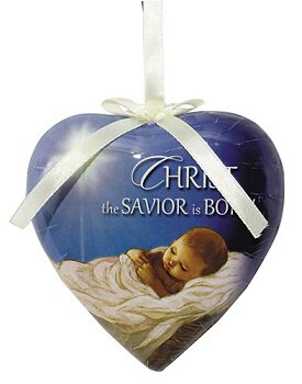 Christ the Savior is Born Heart Shaped Decoupage Ornament - 6/pk