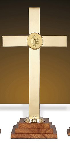 "Altar Cross Wood/Brs 24""H"