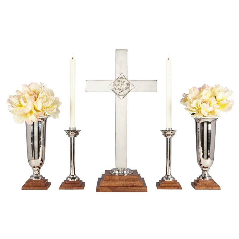 "24"" Wood/NP Brass Altar Set"
