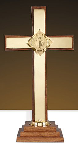 "Altar Cross Wood/Brs 24""H"