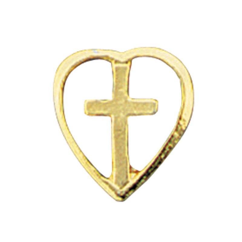 Cross in Heart Lapel Pin - 25/pk