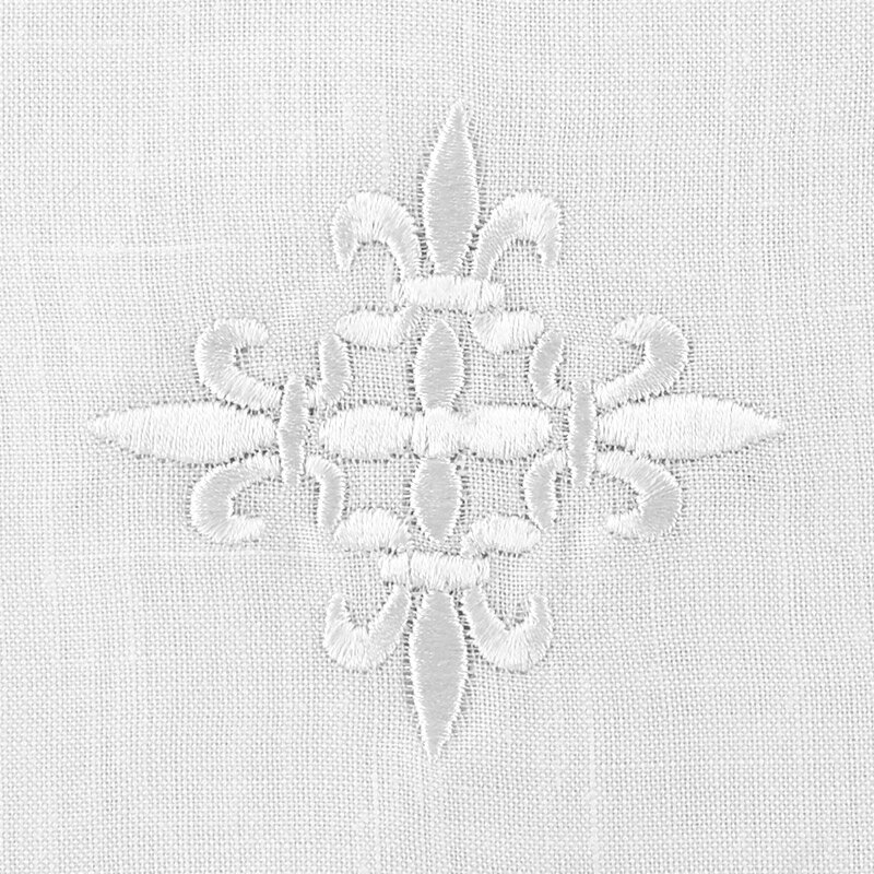 100% Linen White Fleur-de-Lis Cross Purificator - 3/pk