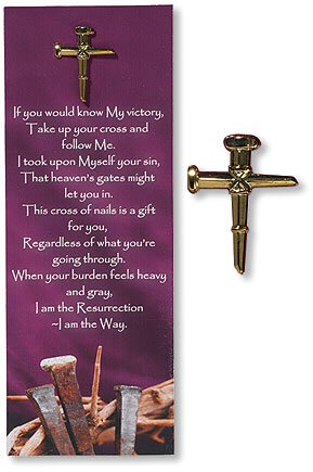 Nail Cross Lapel Pin with Bookmark