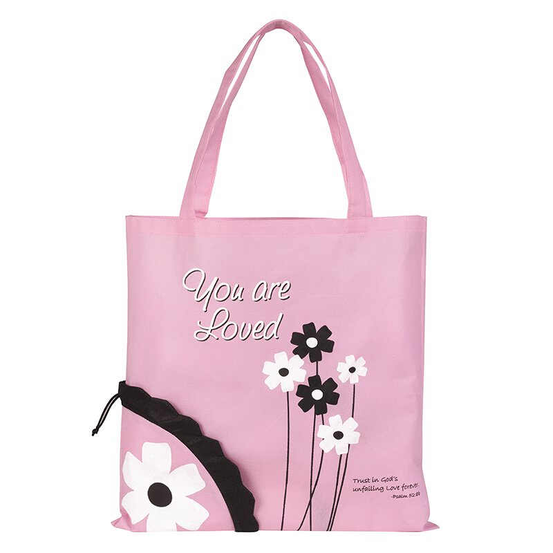 You Are Loved Flower Tote Bag - 12/pk