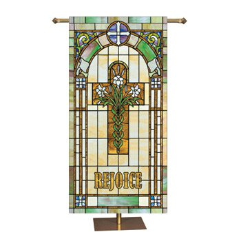 Stained Glass Series Banner - Rejoice Cross with Lilies