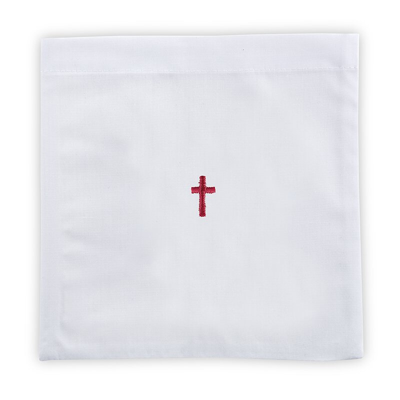 100% Linen Chalice Pall with Red Cross - 12/pk